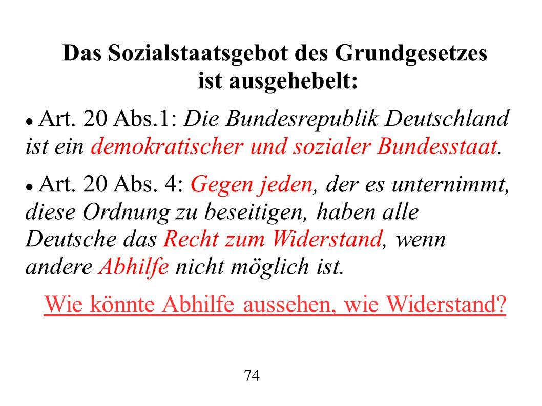Das Sozialstaatsgebot des Grundgesetzes ist ausgehebelt: Art.