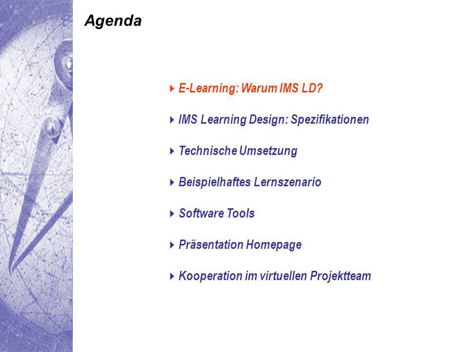 Genereller Aufbau einer XML-Datei für Learning Design  Warum IMS LD Spezifikation Umsetzung Lernszenario Software tools Homepage Kooperation Warum IMS LD Spezifikation Umsetzung Lernszenario Software tools Homepage Kooperation