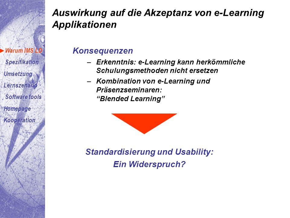 Konsequenzen –Erkenntnis: e-Learning kann herkömmliche Schulungsmethoden nicht ersetzen –Kombination von e-Learning und Präsenzseminaren: Blended Learning Standardisierung und Usability: Ein Widerspruch.