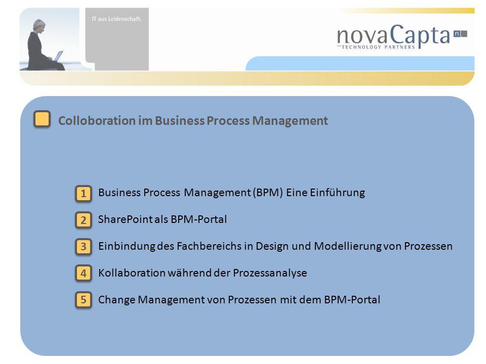 Business Process Management (BPM) Eine Einführung SharePoint als BPM-Portal Einbindung des Fachbereichs in Design und Modellierung von Prozessen Kollaboration während der Prozessanalyse Change Management von Prozessen mit dem BPM-Portal Colloboration im Business Process Management 1 1 2 2 3 3 4 4 5 5