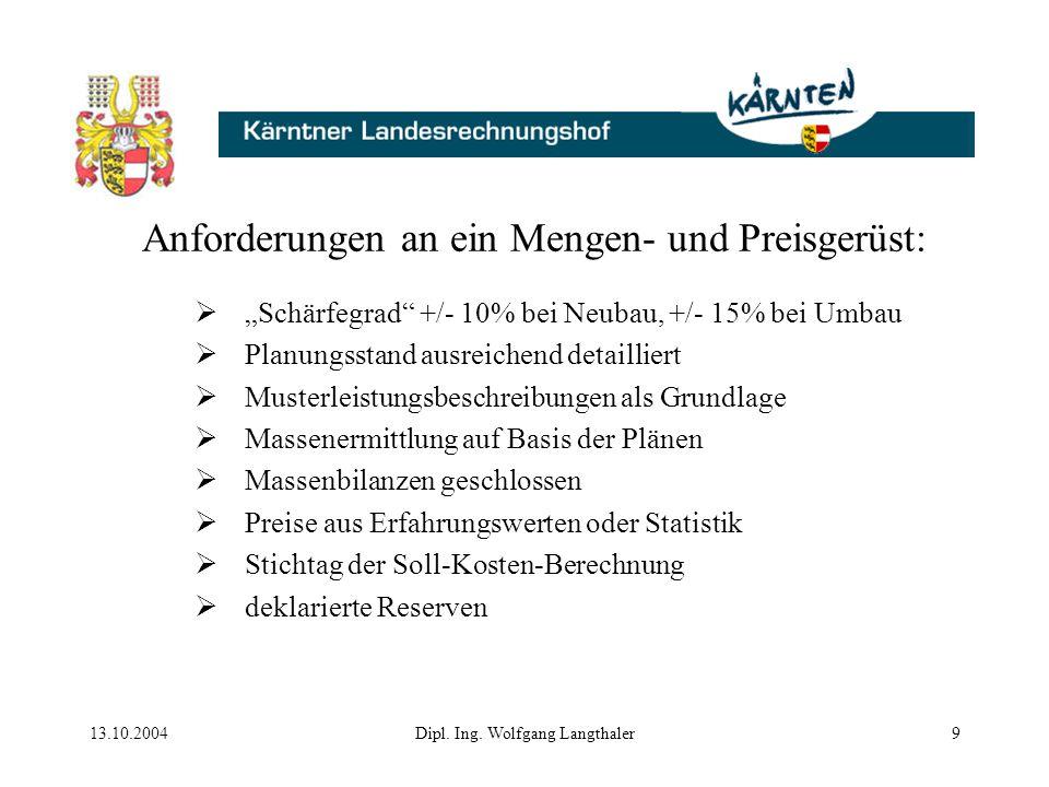 """13.10.2004Dipl. Ing. Wolfgang Langthaler9 Anforderungen an ein Mengen- und Preisgerüst:  """"Schärfegrad"""" +/- 10% bei Neubau, +/- 15% bei Umbau  Planun"""