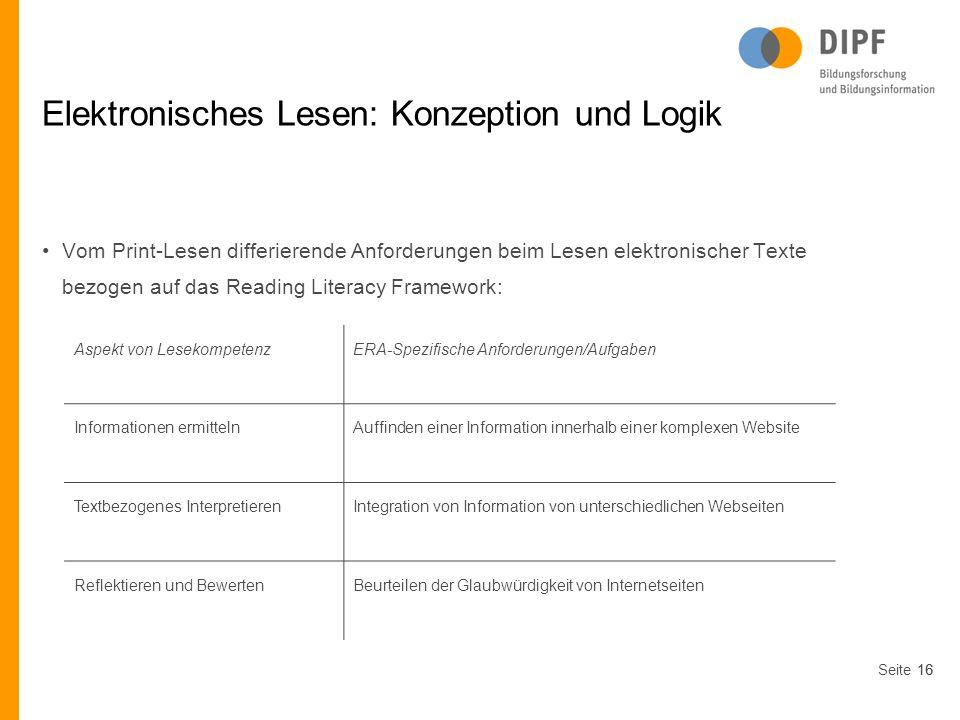 Seite16 Elektronisches Lesen: Konzeption und Logik Vom Print-Lesen differierende Anforderungen beim Lesen elektronischer Texte bezogen auf das Reading