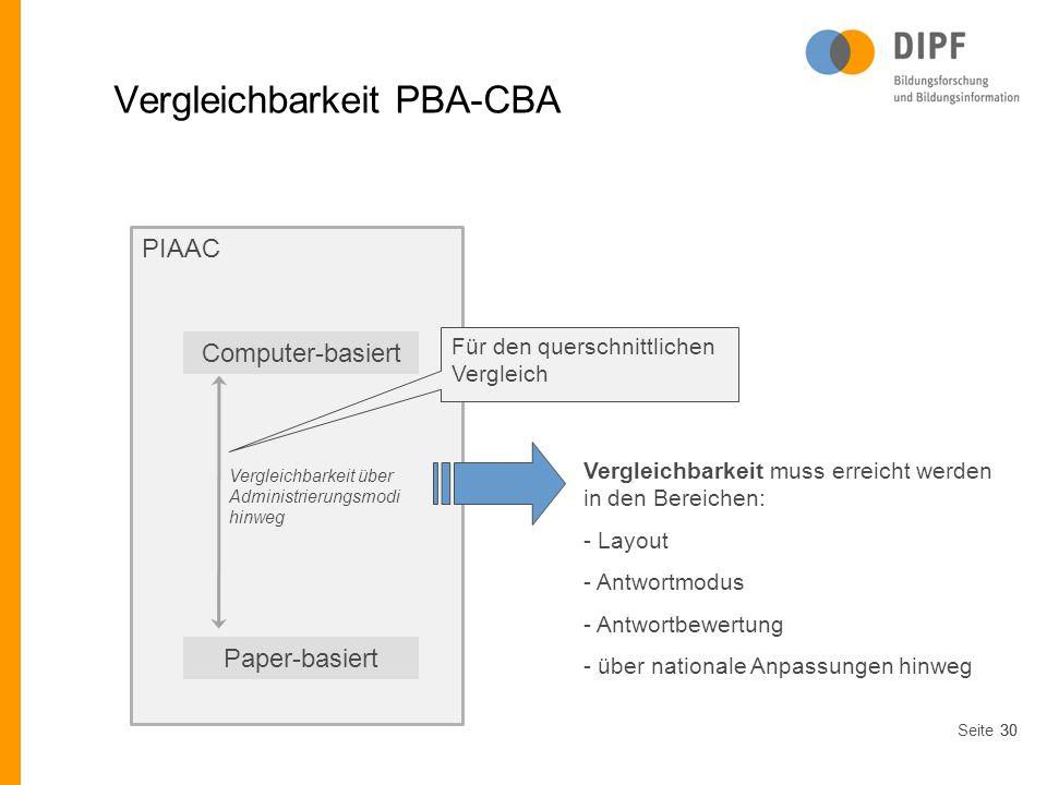 Seite30 PIAAC Vergleichbarkeit PBA-CBA Computer-basiert Paper-basiert Vergleichbarkeit über Administrierungsmodi hinweg Für den querschnittlichen Verg