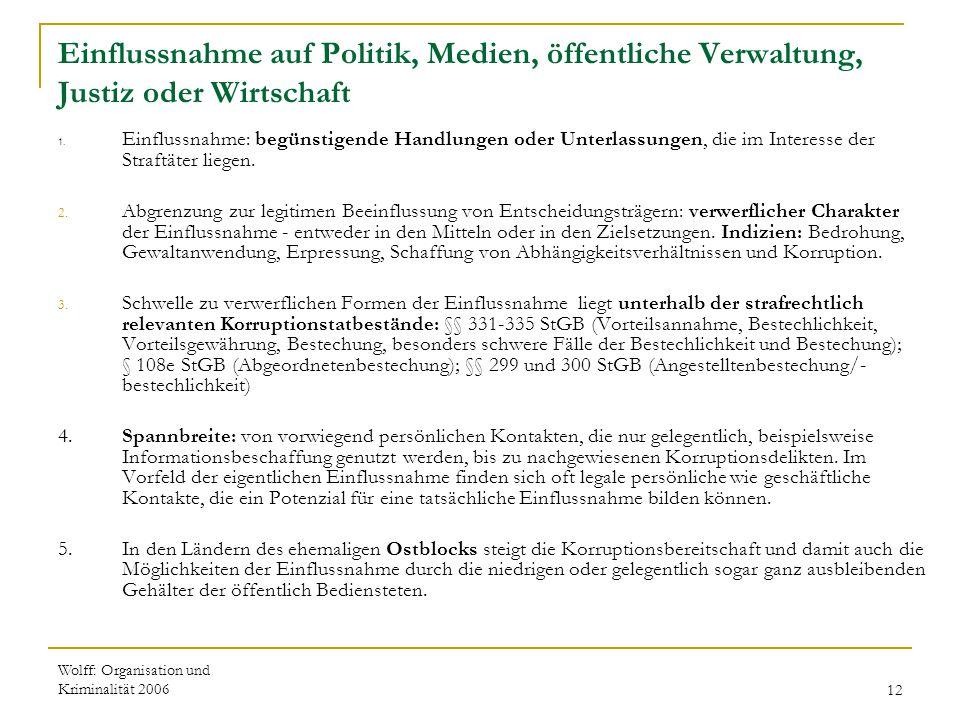Wolff: Organisation und Kriminalität 200612 Einflussnahme auf Politik, Medien, öffentliche Verwaltung, Justiz oder Wirtschaft 1. Einflussnahme: begüns