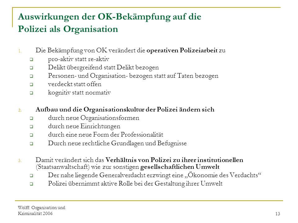 Wolff: Organisation und Kriminalität 200613 Auswirkungen der OK-Bekämpfung auf die Polizei als Organisation 1. Die Bekämpfung von OK verändert die ope