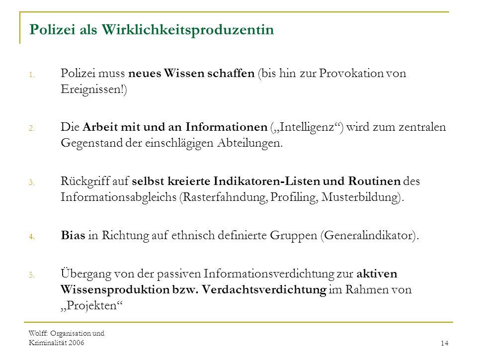 Wolff: Organisation und Kriminalität 200614 Polizei als Wirklichkeitsproduzentin 1. Polizei muss neues Wissen schaffen (bis hin zur Provokation von Er