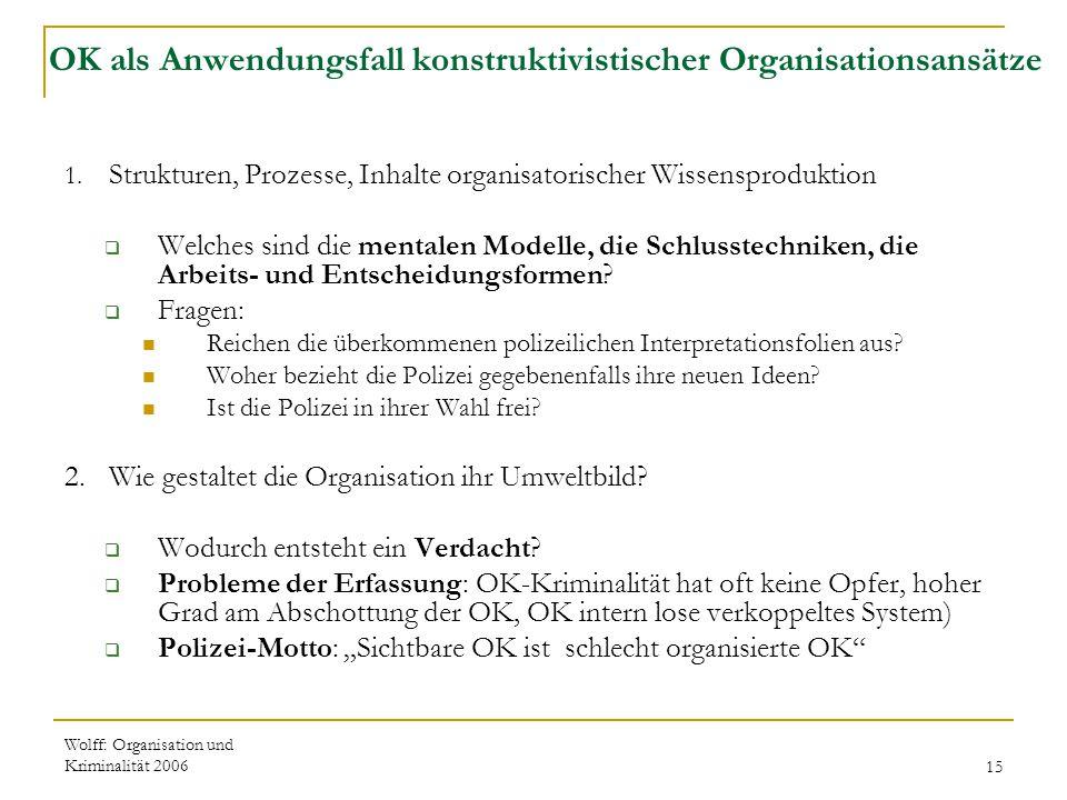 Wolff: Organisation und Kriminalität 200615 OK als Anwendungsfall konstruktivistischer Organisationsansätze 1. Strukturen, Prozesse, Inhalte organisat