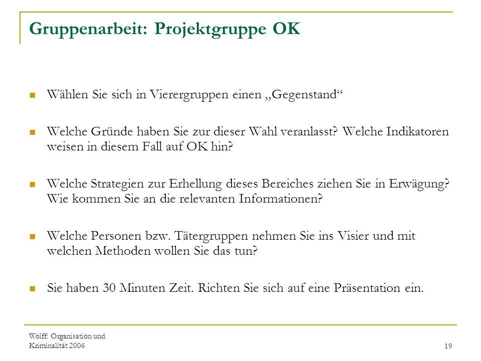 """Wolff: Organisation und Kriminalität 200619 Gruppenarbeit: Projektgruppe OK Wählen Sie sich in Vierergruppen einen """"Gegenstand"""" Welche Gründe haben Si"""
