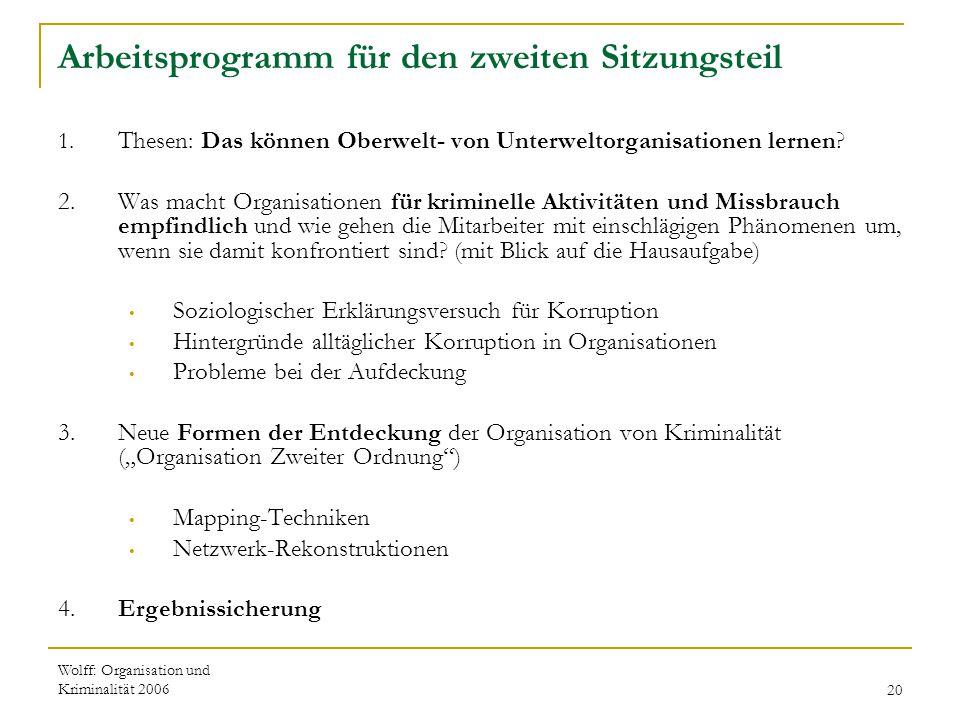 Wolff: Organisation und Kriminalität 200620 Arbeitsprogramm für den zweiten Sitzungsteil 1. Thesen: Das können Oberwelt- von Unterweltorganisationen l