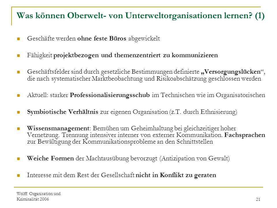 Wolff: Organisation und Kriminalität 200621 Was können Oberwelt- von Unterweltorganisationen lernen? (1) Geschäfte werden ohne feste Büros abgewickelt