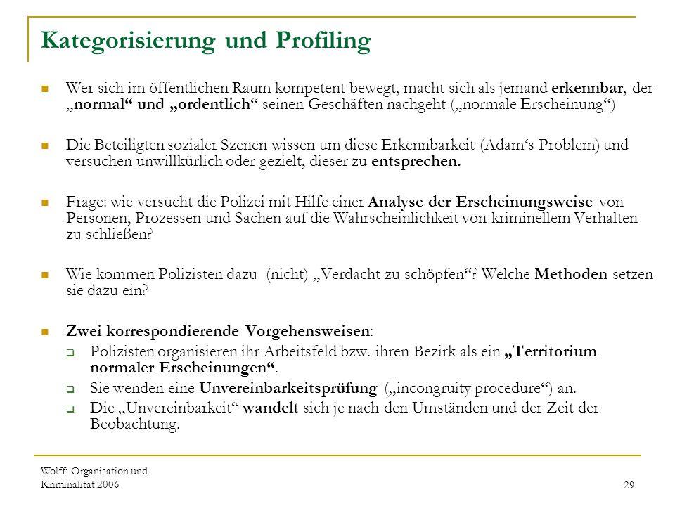 Wolff: Organisation und Kriminalität 200629 Kategorisierung und Profiling Wer sich im öffentlichen Raum kompetent bewegt, macht sich als jemand erkenn