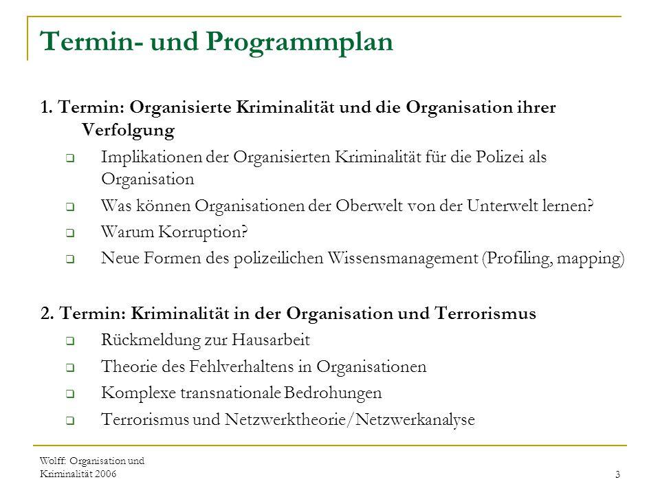 Wolff: Organisation und Kriminalität 20063 Termin- und Programmplan 1. Termin: Organisierte Kriminalität und die Organisation ihrer Verfolgung  Impli