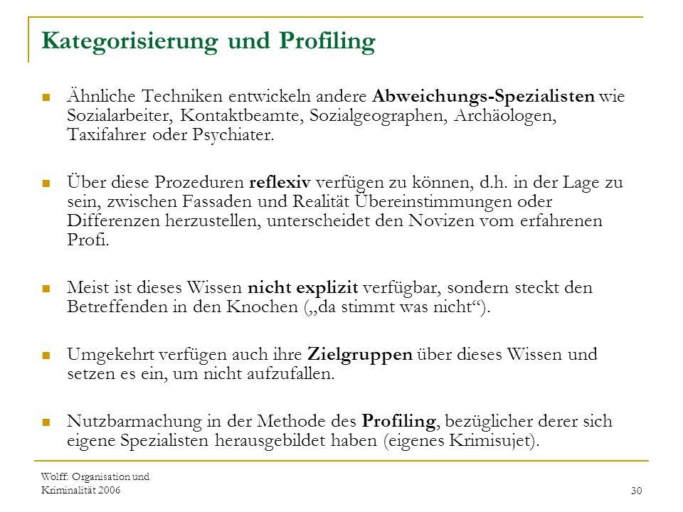 Wolff: Organisation und Kriminalität 200630 Kategorisierung und Profiling Ähnliche Techniken entwickeln andere Abweichungs-Spezialisten wie Sozialarbe