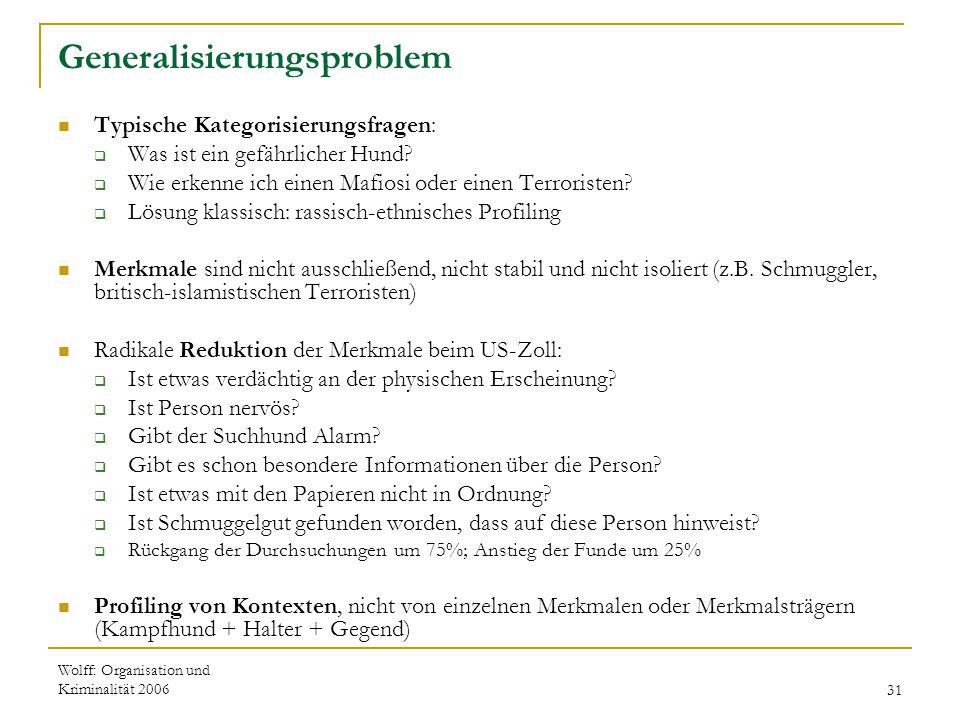 Wolff: Organisation und Kriminalität 200631 Generalisierungsproblem Typische Kategorisierungsfragen:  Was ist ein gefährlicher Hund?  Wie erkenne ic