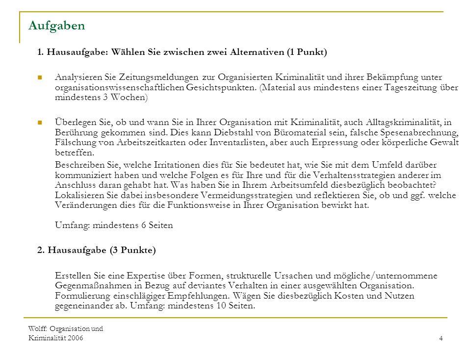 Wolff: Organisation und Kriminalität 20064 Aufgaben 1. Hausaufgabe: Wählen Sie zwischen zwei Alternativen (1 Punkt) Analysieren Sie Zeitungsmeldungen