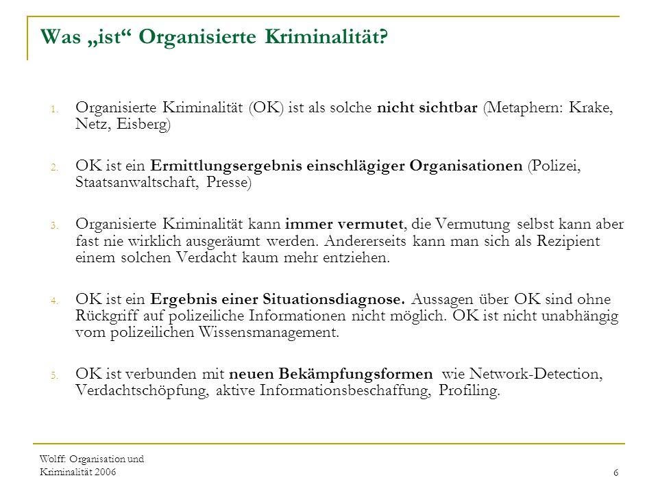 """Wolff: Organisation und Kriminalität 20066 Was """"ist"""" Organisierte Kriminalität? 1. Organisierte Kriminalität (OK) ist als solche nicht sichtbar (Metap"""