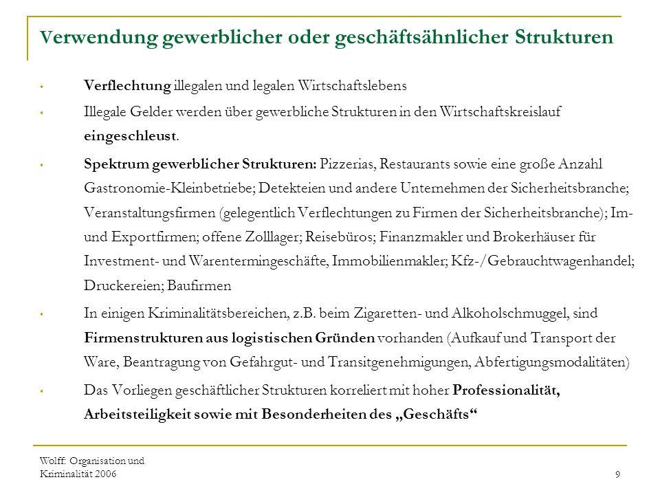 Wolff: Organisation und Kriminalität 20069 V erwendung gewerblicher oder geschäftsähnlicher Strukturen Verflechtung illegalen und legalen Wirtschaftsl