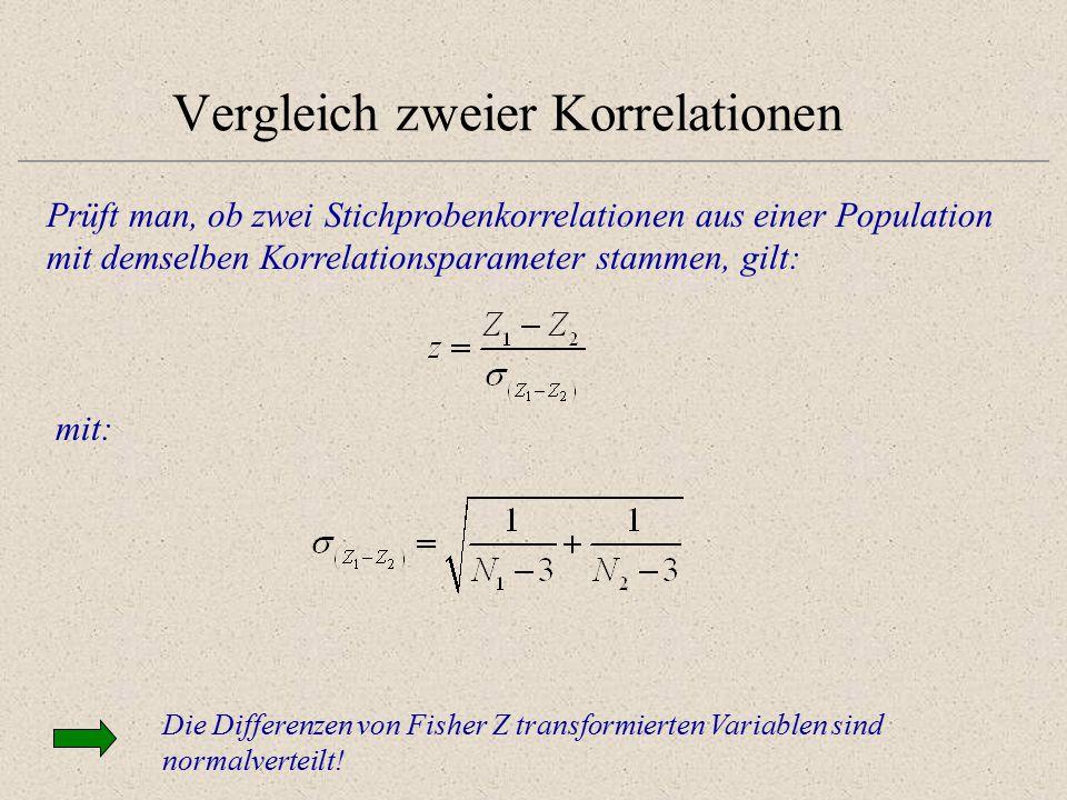 Vergleich zweier Korrelationen Prüft man, ob zwei Stichprobenkorrelationen aus einer Population mit demselben Korrelationsparameter stammen, gilt: mit: Die Differenzen von Fisher Z transformierten Variablen sind normalverteilt!