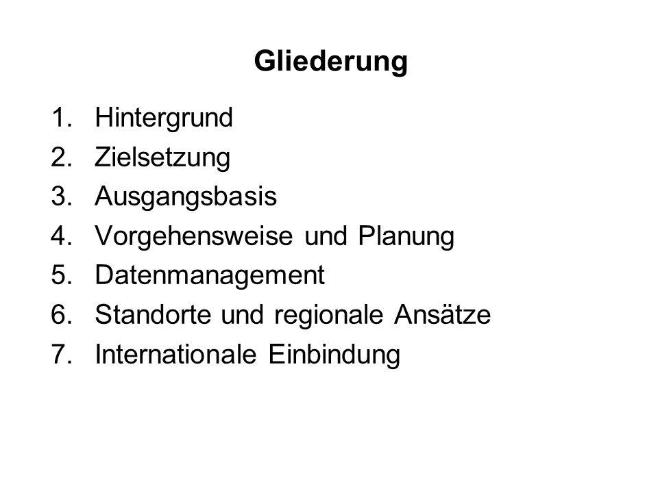 Gliederung 1.Hintergrund 2.Zielsetzung 3.Ausgangsbasis 4.Vorgehensweise und Planung 5.Datenmanagement 6.Standorte und regionale Ansätze 7.Internationale Einbindung