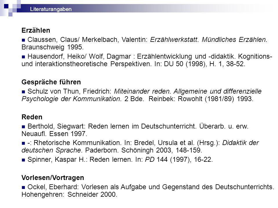 Erzählen Claussen, Claus/ Merkelbach, Valentin: Erzählwerkstatt.