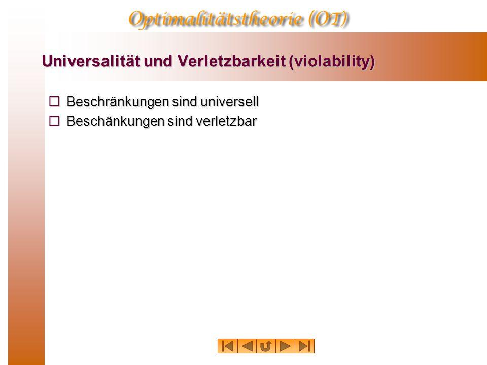 Universalität und Verletzbarkeit (violability)  Beschränkungen sind universell  Beschänkungen sind verletzbar
