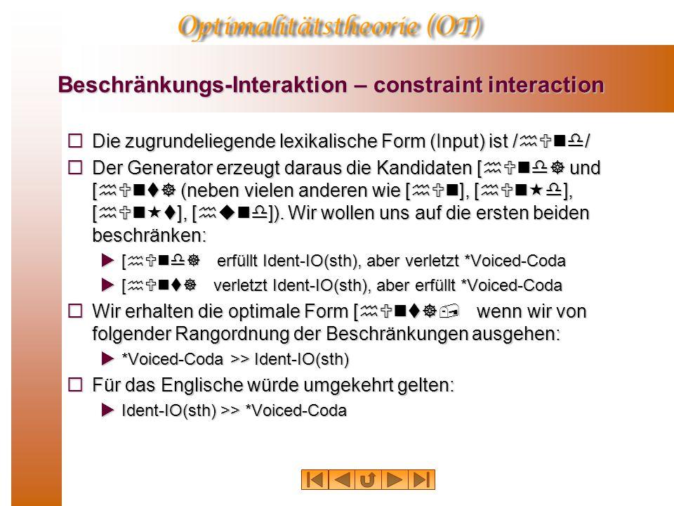 Beschränkungs-Interaktion – constraint interaction  Die zugrundeliegende lexikalische Form (Input) ist /hUnd/  Der Generator erzeugt daraus die Kandidaten [hUnd] und [hUnt] (neben vielen anderen wie [hUn], [hUn«d], [hUn«t], [hund]).