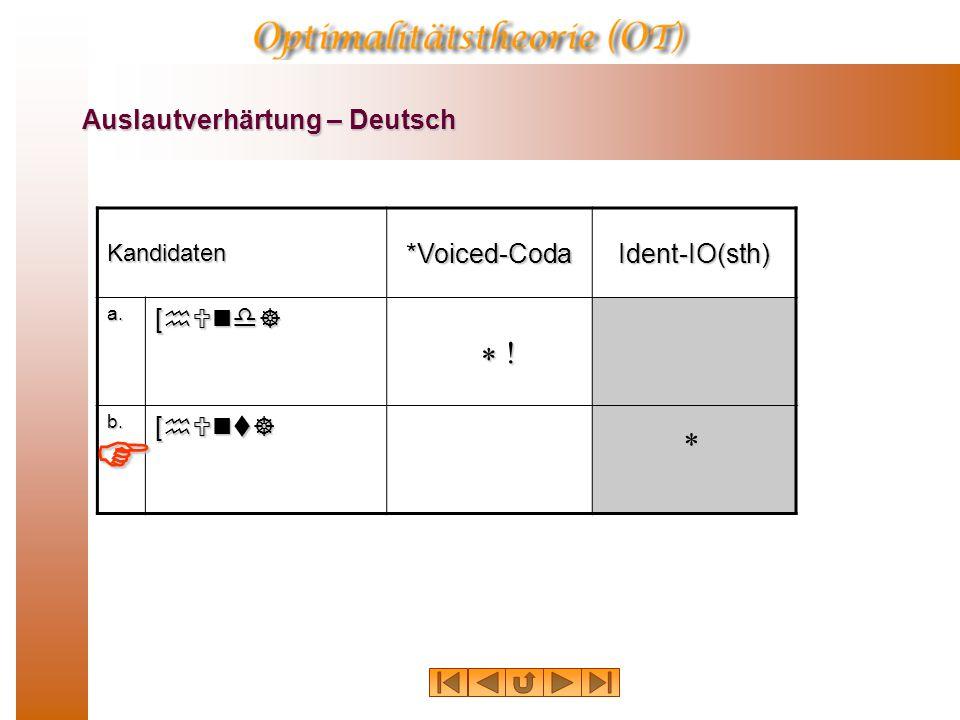 Auslautverhärtung – Deutsch Kandidaten*Voiced-CodaIdent-IO(sth) a. [hUnd] b. [hUnt] * ! * 