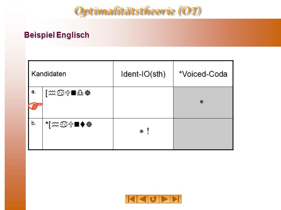 Beispiel Englisch KandidatenIdent-IO(sth)*Voiced-Coda a. [haUnd] b. *[haUnt] * ! * 