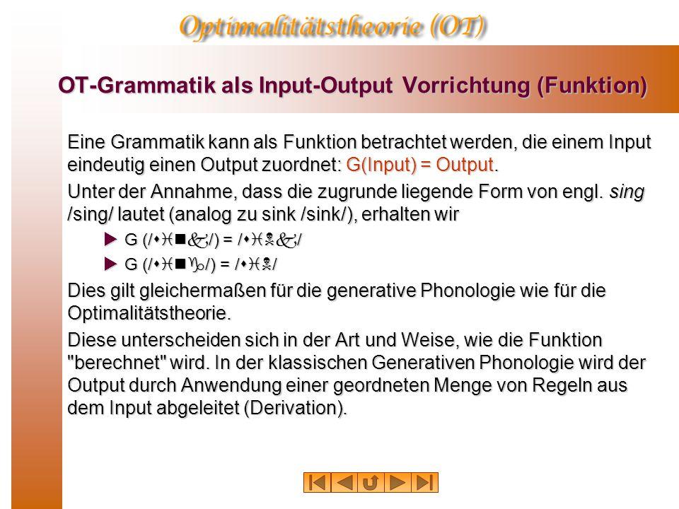 OT-Grammatik als Input-Output Vorrichtung (Funktion) Eine Grammatik kann als Funktion betrachtet werden, die einem Input eindeutig einen Output zuordnet: G(Input) = Output.