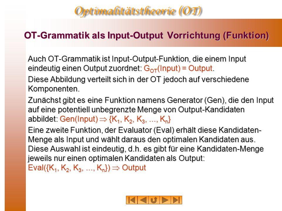 OT-Grammatik als Input-Output Vorrichtung (Funktion) Auch OT-Grammatik ist Input-Output-Funktion, die einem Input eindeutig einen Output zuordnet: G OT (Input) = Output.