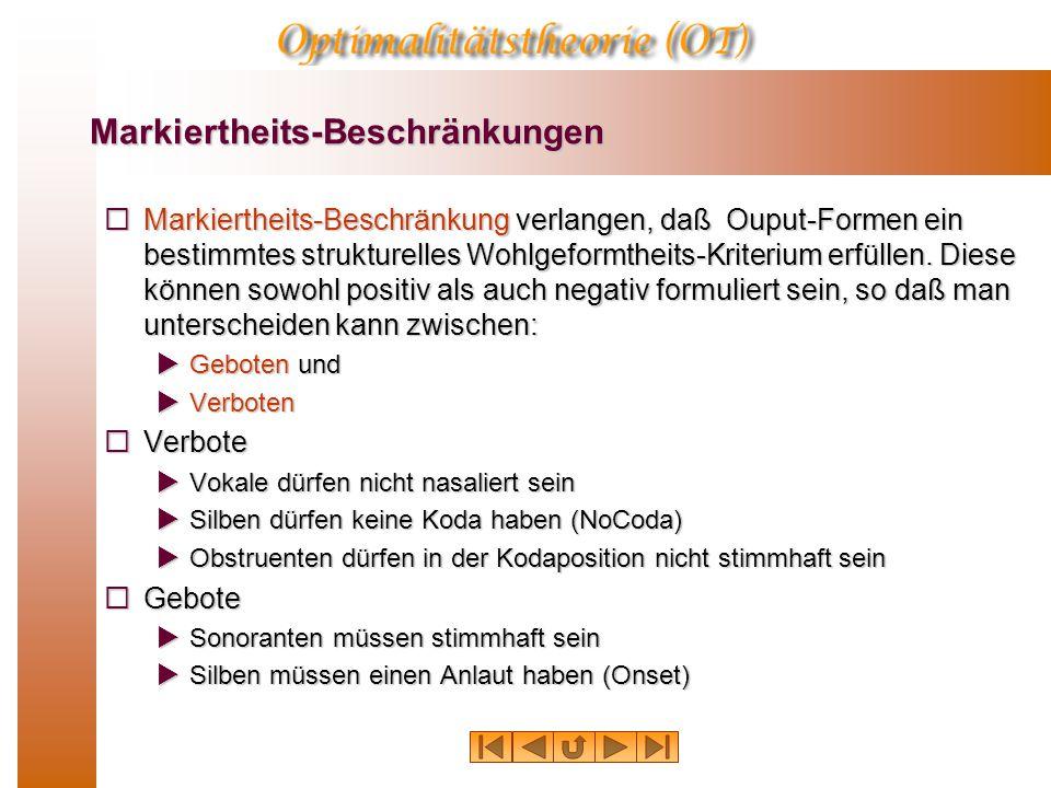 Markiertheits-Beschränkungen  Markiertheits-Beschränkung verlangen, daß Ouput-Formen ein bestimmtes strukturelles Wohlgeformtheits-Kriterium erfüllen