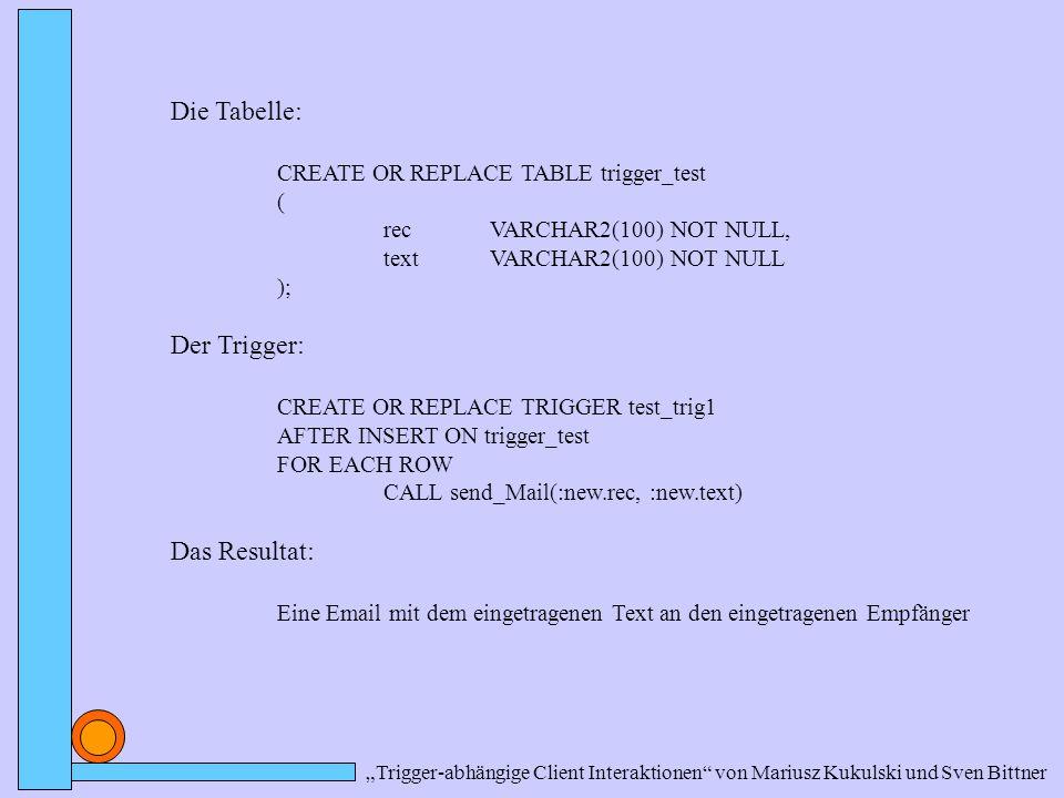 """""""Trigger-abhängige Client Interaktionen von Mariusz Kukulski und Sven Bittner Die Tabelle: CREATE OR REPLACE TABLE trigger_test ( recVARCHAR2(100) NOT NULL, textVARCHAR2(100) NOT NULL ); Der Trigger: CREATE OR REPLACE TRIGGER test_trig1 AFTER INSERT ON trigger_test FOR EACH ROW CALL send_Mail(:new.rec, :new.text) Das Resultat: Eine Email mit dem eingetragenen Text an den eingetragenen Empfänger"""