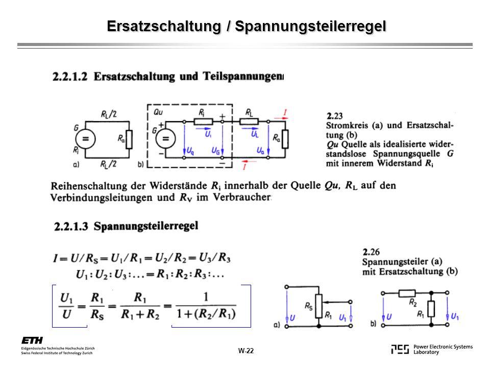 Ersatzschaltung / Spannungsteilerregel W-22