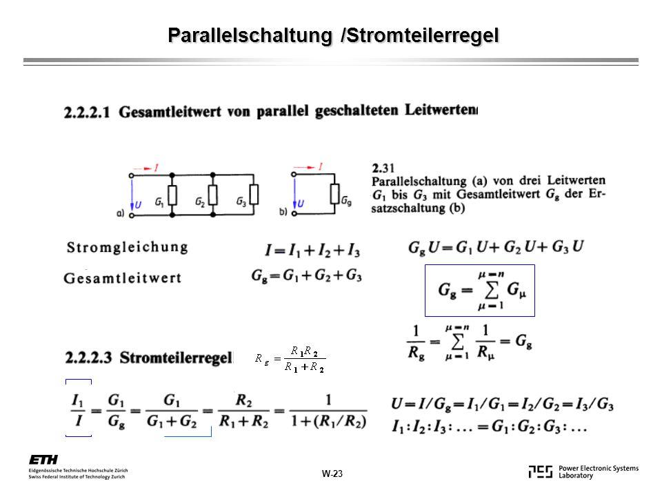 Parallelschaltung /Stromteilerregel W-23