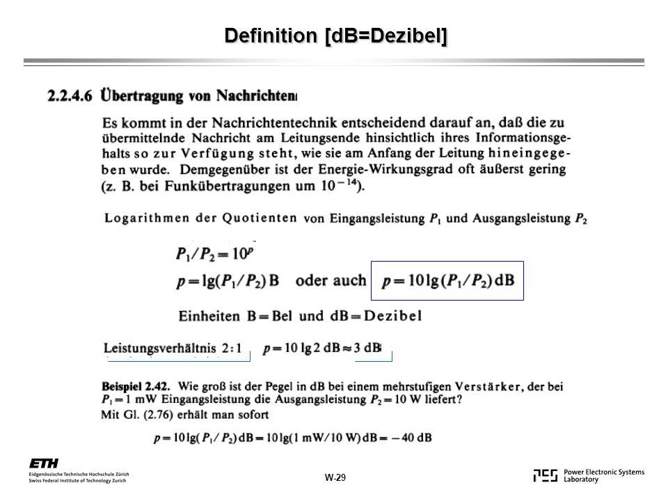 Definition [dB=Dezibel] W-29