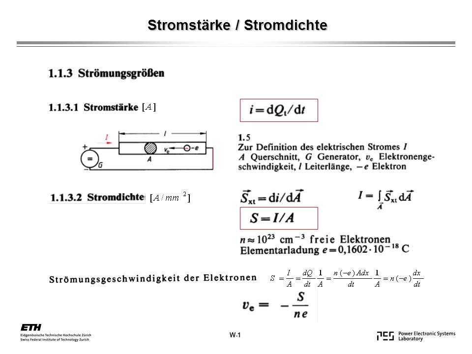 Stromstärke / Stromdichte W-1