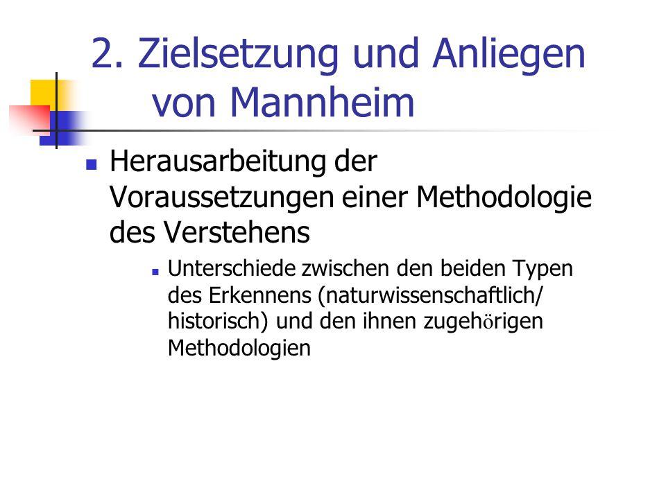 2. Zielsetzung und Anliegen von Mannheim Herausarbeitung der Voraussetzungen einer Methodologie des Verstehens Unterschiede zwischen den beiden Typen