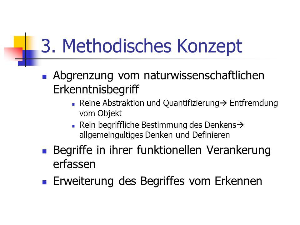 3. Methodisches Konzept Abgrenzung vom naturwissenschaftlichen Erkenntnisbegriff Reine Abstraktion und Quantifizierung  Entfremdung vom Objekt Rein b