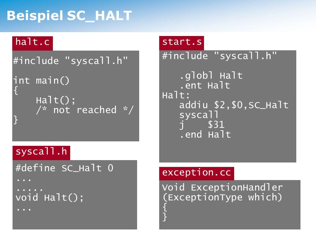 Exceptions SysCall ist nur ein möglicher Exception-Typ, weitere: PageFaultException keine gültige Speicherseite ReadOnlyException Write auf read-only -Speicher BusErrorException ungültige phys.