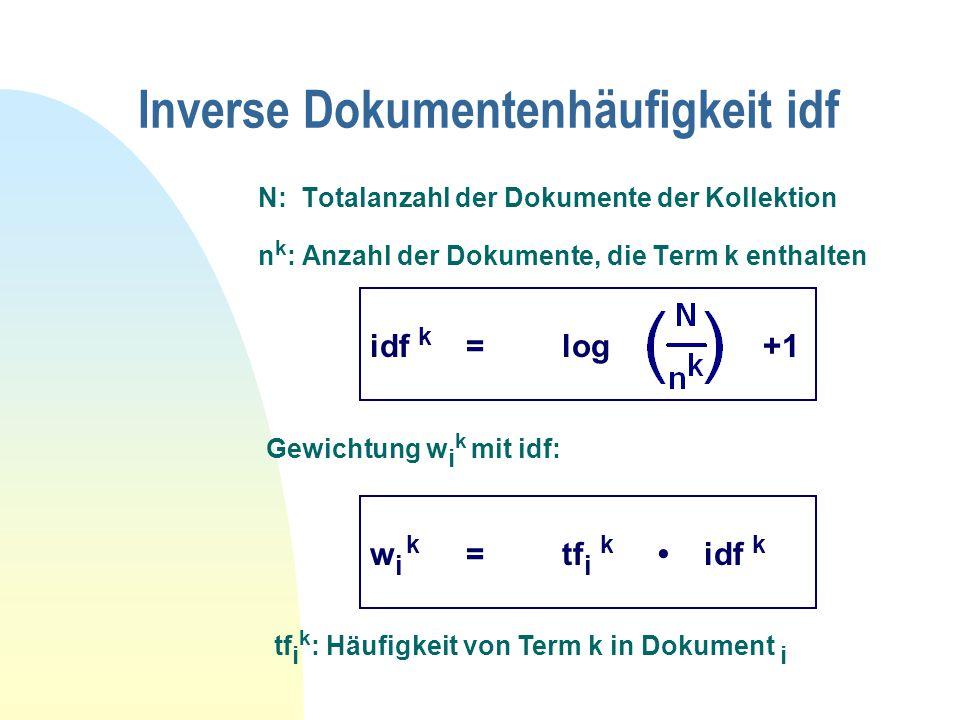 Inverse Dokumentenhäufigkeit idf N: Totalanzahl der Dokumente der Kollektion n k : Anzahl der Dokumente, die Term k enthalten Gewichtung w i k mit idf: tf i k : Häufigkeit von Term k in Dokument i idf k =log +1 w i k =tf i k idf k