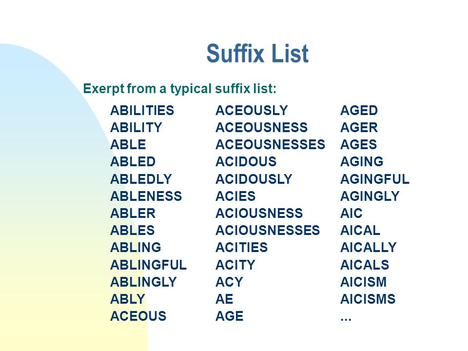 Suffix List Exerpt from a typical suffix list: ABILITIES ABILITY ABLE ABLED ABLEDLY ABLENESS ABLER ABLES ABLING ABLINGFUL ABLINGLY ABLY ACEOUS ACEOUSLY ACEOUSNESS ACEOUSNESSES ACIDOUS ACIDOUSLY ACIES ACIOUSNESS ACIOUSNESSES ACITIES ACITY ACY AE AGE AGED AGER AGES AGING AGINGFUL AGINGLY AIC AICAL AICALLY AICALS AICISM AICISMS...