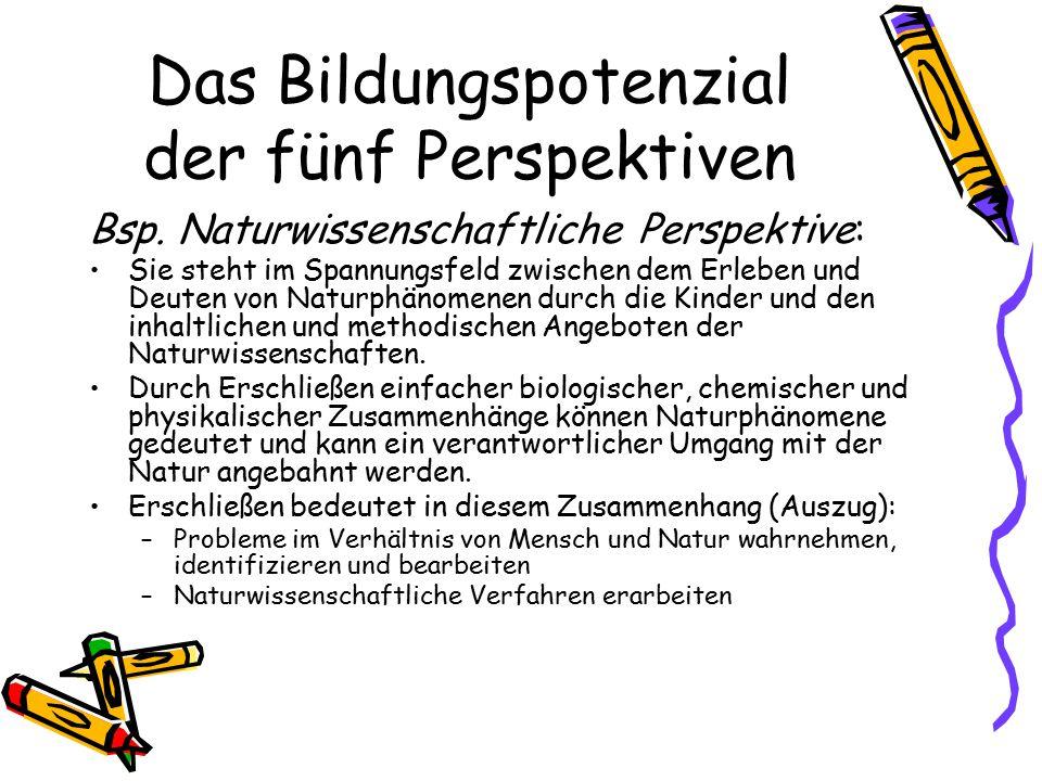 Das Bildungspotenzial der fünf Perspektiven Bsp. Naturwissenschaftliche Perspektive: Sie steht im Spannungsfeld zwischen dem Erleben und Deuten von Na