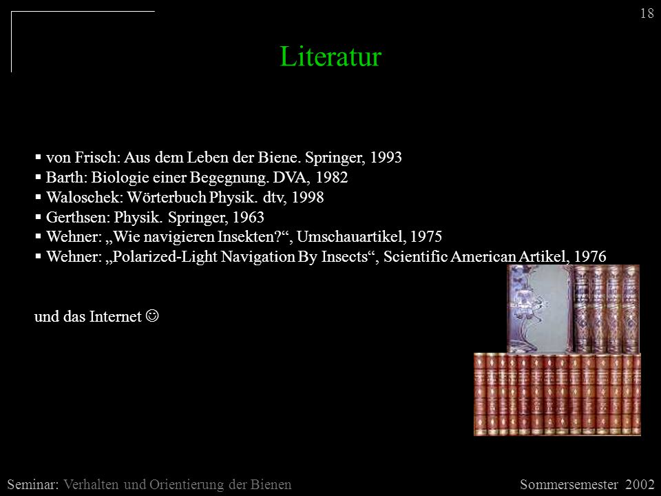 Literatur Sommersemester 2002Seminar: Verhalten und Orientierung der Bienen  von Frisch: Aus dem Leben der Biene. Springer, 1993  Barth: Biologie ei