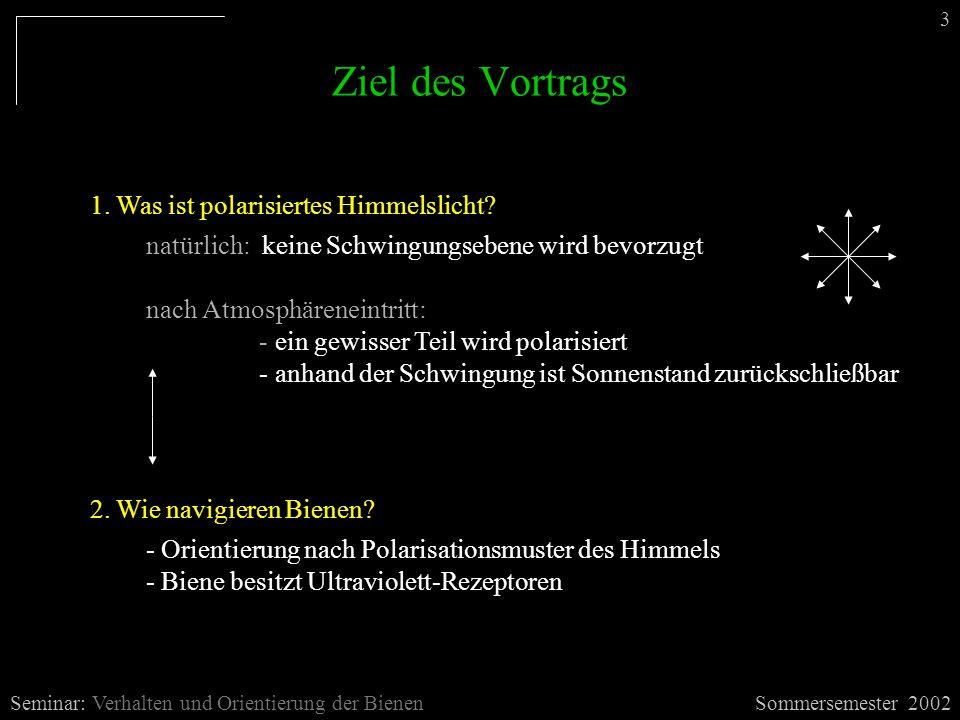 Ziel des Vortrags Sommersemester 2002Seminar: Verhalten und Orientierung der Bienen 3 2. Wie navigieren Bienen? - Orientierung nach Polarisationsmuste