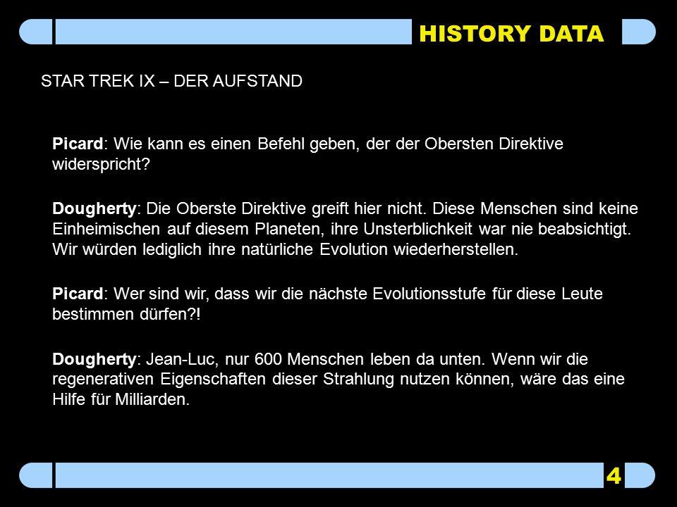 HISTORY DATA STAR TREK IX – DER AUFSTAND Picard: Wie kann es einen Befehl geben, der der Obersten Direktive widerspricht? Dougherty: Die Oberste Direk