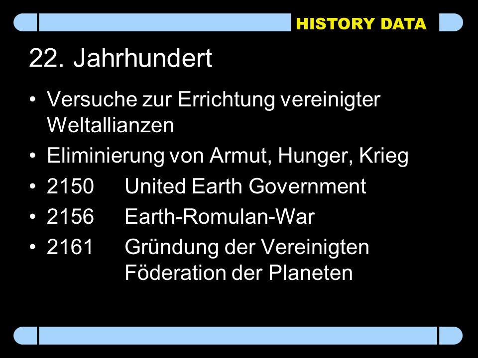 HISTORY DATA 22. Jahrhundert Versuche zur Errichtung vereinigter Weltallianzen Eliminierung von Armut, Hunger, Krieg 2150United Earth Government 2156