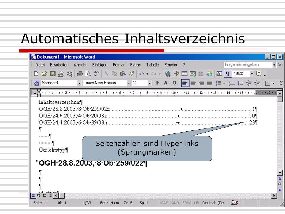 Automatisches Inhaltsverzeichnis Seitenzahlen sind Hyperlinks (Sprungmarken)