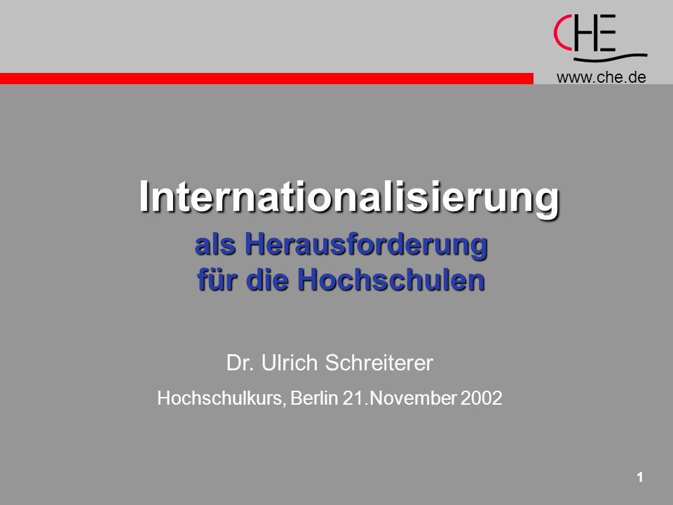 www.che.de 12 Studierendenmobilität: DeutschlandausländischeStudierende in D 187.000 (2001), davon 1/3 Bildungs- inländer 54% Europa 27% Asien  Quote 10,4%deutscheStudierende im Ausland 46.500 (1999)  Quote 13% höhere Semest.