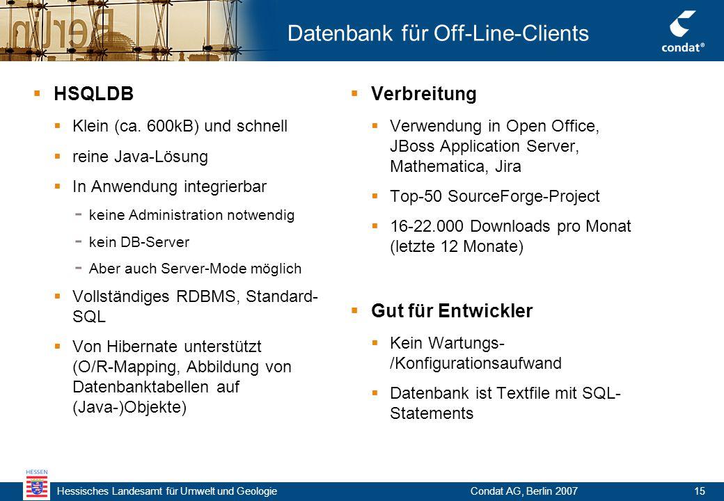Hessisches Landesamt für Umwelt und Geologie Condat AG, Berlin 200715 Datenbank für Off-Line-Clients  HSQLDB  Klein (ca.