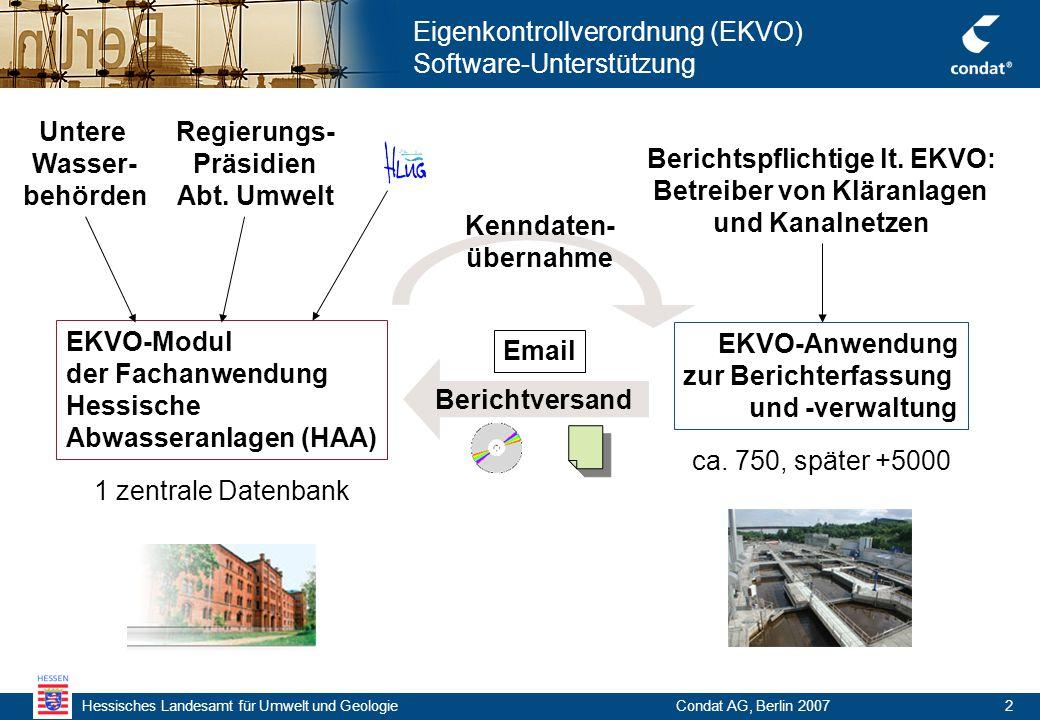 Condat AG, Berlin 20072 Eigenkontrollverordnung (EKVO) Software-Unterstützung EKVO-Modul der Fachanwendung Hessische Abwasseranlagen (HAA) EKVO-Anwendung zur Berichterfassung und -verwaltung Berichtspflichtige lt.
